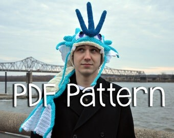Crochet Gyarados Hat PATTERN -- Pokemon Inspired