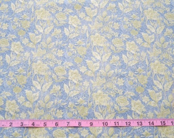 Destash Fabric, Susan Winget, Butterfly Melody Floral Scroll, Blue and Green Floral Cotton Quilting Fabric