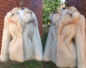 50s Fox Coat Real Fur Midcentury with Pockets M/L
