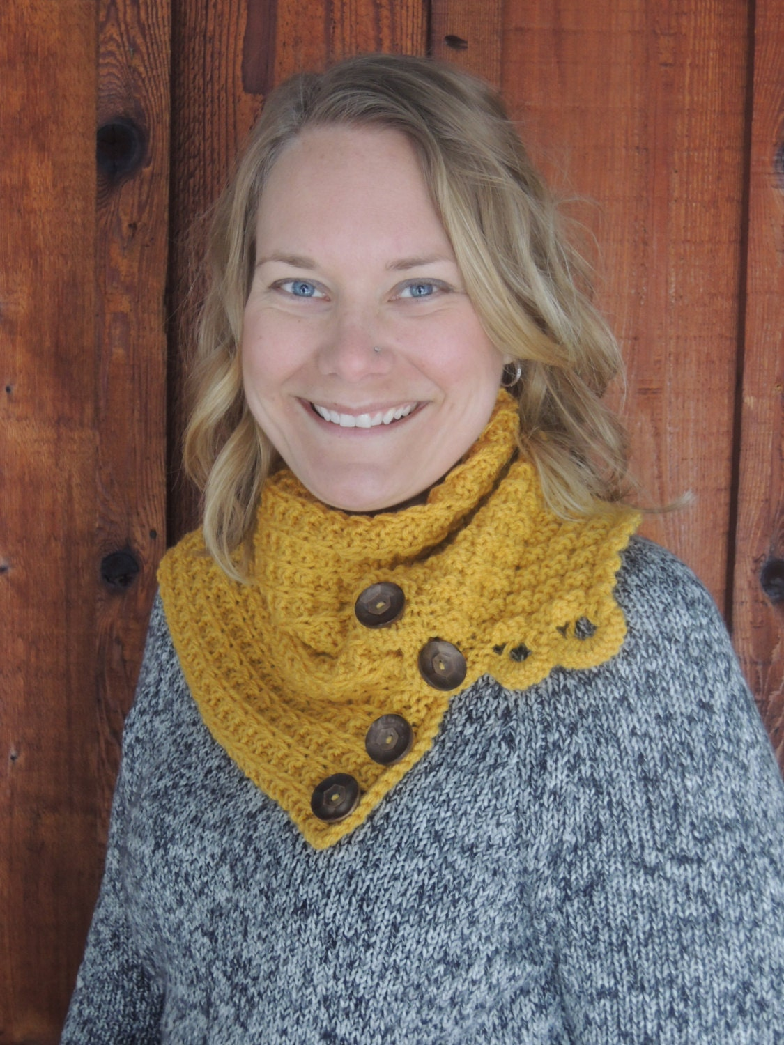 Knitting Pattern Scarf With Button : Knitting Pattern Scarf & Cowl with Buttons