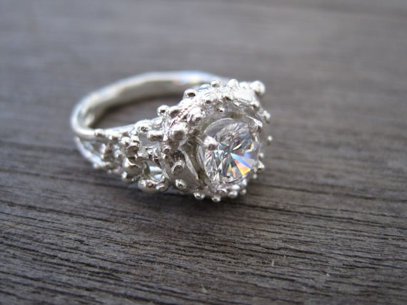 Coral Sea Inspired Engagement Ring With CZ in by ...