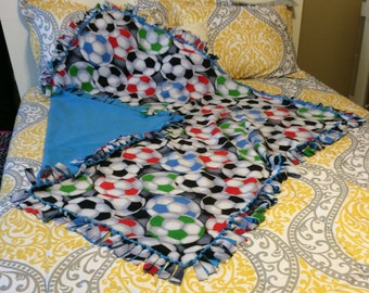 Soccer Handmade No Sew Fleece Blanket in Multi Color with Soccer Balls