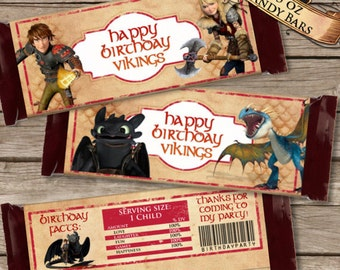 How to Train Your Dragon 2 Candy Bar Wrappers, Dragons 2 Party Favor, Dragons 2 Birthday Printable, INSTANT DOWNLOAD