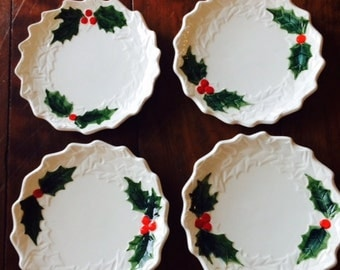 Set of four 1970's Lefton White Holly Berry Side Plates
