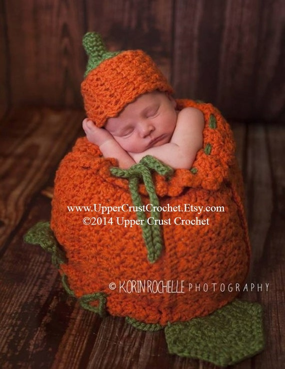 Chunky Crochet Little Pumpkin Cocoon and Beanie PATTERN