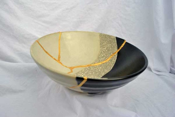 Stone Path of Life Kintsugi Bowl  Mended with Gold Seams