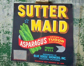 Vintage Authentic Food Label / Retro Artwork / Aaparagus / Thanksgiving / Harvest