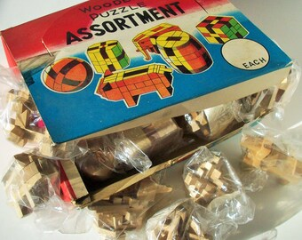 Wooden Puzzle Assortment / 10 unopened puzzles / Dimestore Countertop /  Display and Merchandise with instructions