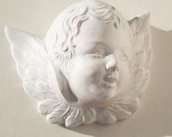 Tiny Angel Face, Cherub,Vintage Chalkware Detail / Beautiful Facial Image