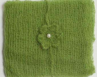 Spring Green Mohair Newborn Wrap and Matching Headband - Photo Prop