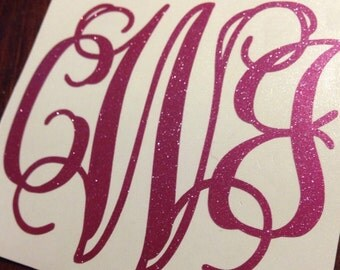 Glitter Monogram - Glitter Vinyl Decal - Glitter Car Decal