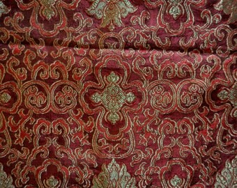 "18"" long Jacquard fabric remnant Burgundy Brocade fabric remnant"