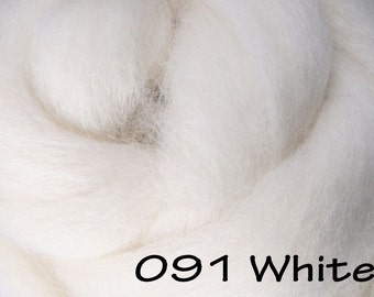 WHITE 10g NZ Ashford Corriedale Wool Top Silver Roving - Ship from USA