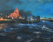Ireland, Fine Art Giclee print, Galway, Landscape, Corrib, River, Cathedral, Night, from an origninal Acrylic painting
