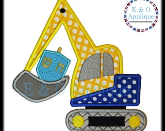 Dreidel Applique - Hanukkah Construction Equipment Embroidery Design - Hanukkah Applique Design - Chanukah Dreidel Applique - Digger Design