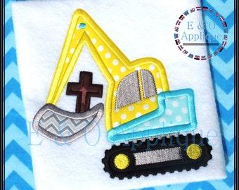 Digger Easter Cross Applique Design - Easter Applique Design - Digger Construction Applique - Cross Applique