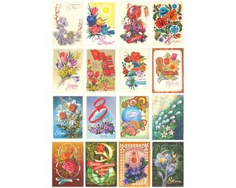International Women's Day, Set of 16 Soviet Vintage Postcards, Used Postcards, Illustration, Russian prints, 1970s, 1980s