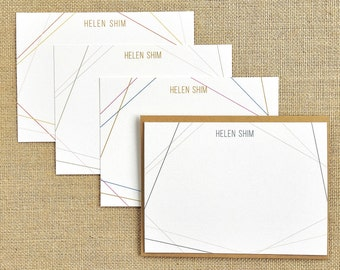 Personalized Flat Notecard   Fun Lines - Set of 24