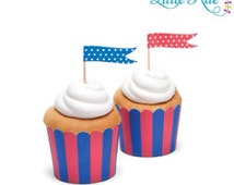 Premium Cupcake Baking Cups Red and Blue Stripe 25 Pack