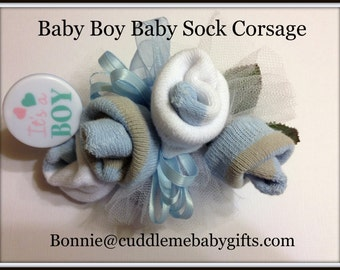 Baby Shower Blue Baby Boy Baby Sock Corsage Baby Shower decor Baby Shower Gift