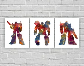 Transformer silhouette, Transformer Watercolor, Transformer Wall Art, Transformer Set of 3, 8x10, Transformer INSTANT DOWNLOAD