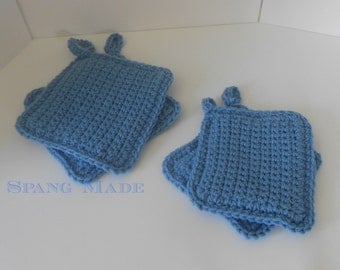 Crochet pot holders 7 inch yarn hot pads