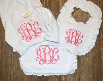 Monogram baby gift set - monogram gown - monogram burp cloth and bib set - baby shower gift