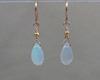 Ethiopian Opal Earrings, October Birthstone, 14K Gold Filled, Opal Earrings, Opal Briolette, Opal Jewelry, Bride Earrings, Wedding Jewelry