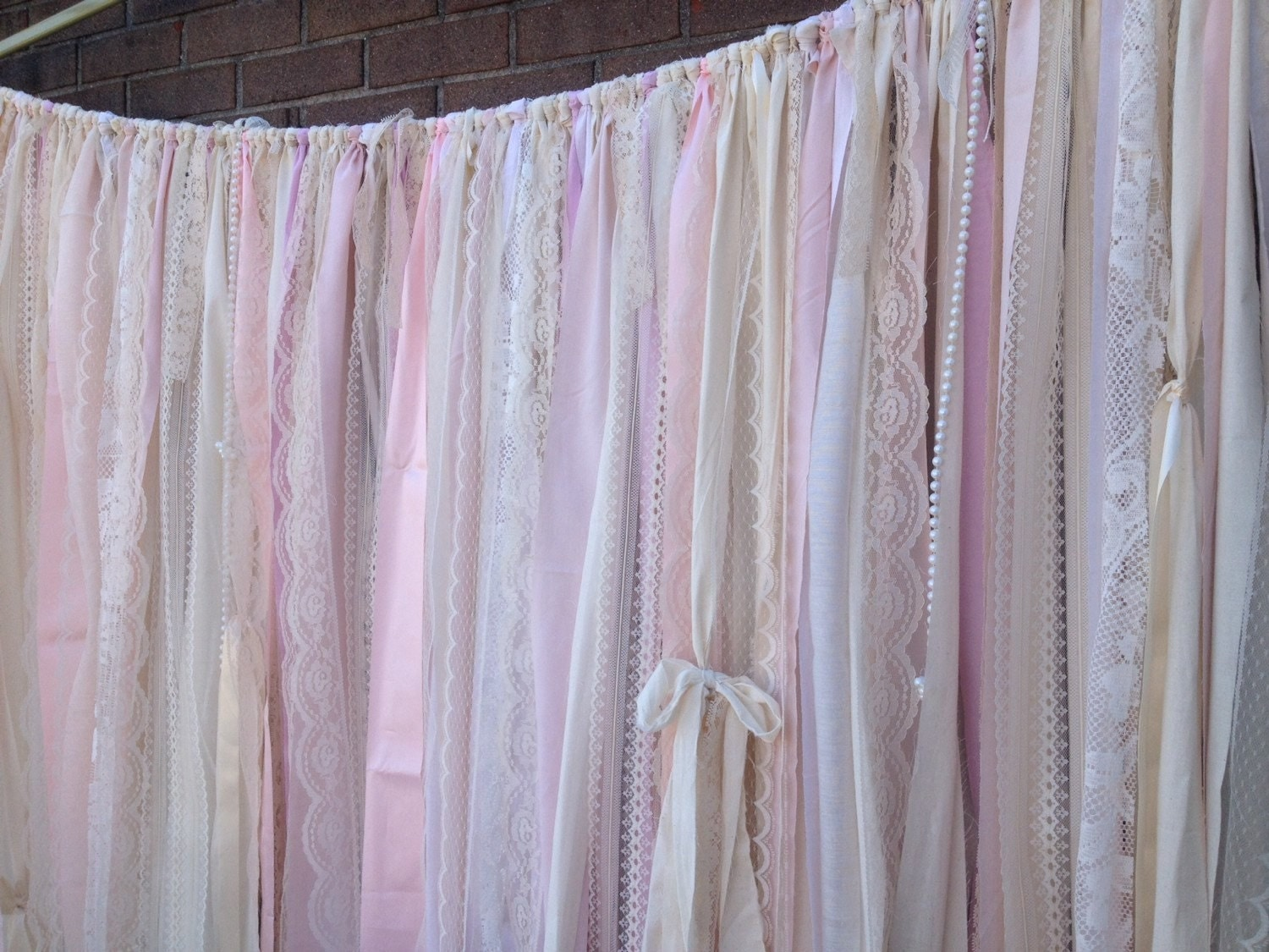 Boho window curtains - Blush Backdrop Pink Ivory Wedding Long Fabric Lace Rag Garland Prairie Ribbon Curtains Photobooth Rustic Wedding Shabby Boho Farmhouse