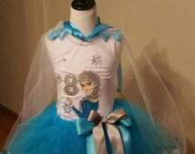 elsa tutu set / frozen elsa tutu set/ elsa birthday outfit/ queen elsa tutu set/frozen embroidery tutu set,  birthday outfit, 3pc set