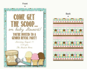 5 x 7 Ice Cream Gender Reveal Get the Scoop Party Invitation!