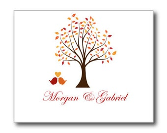 """Thank You Card-Printable-""""Fall"""" DIY Thank You Cards-INSTANT DOWNLOAD-Fall Wedding-Leaves Autumn Oak-Microsoft Word"""