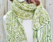 Extra Long Scarf, Winter Knit Scarf, Green Scarf