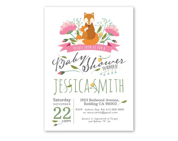 Baby Shower Invitation,  Baby Girl Shower Invitation, Customized Printable - Woodland Shower Invite, mother and baby fox