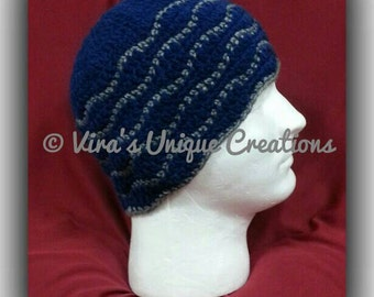 Crochet men beanie hat with grey ripple line, crochet men hat, crochet men beanie, men crochet hat, men crochet beanie, made-to-order