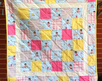 Belle and Boo Tea Party Quilt for cot, lap, floor or wall.