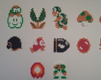 8 bit NES Super Mario Brothers Medium Perler Sprite Set:  Magnets and Coasters