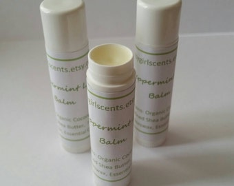 Peppermint Lip Balm, Natural Lip balm, party favors, organic lip balm