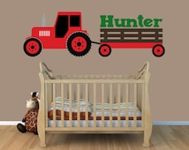 Tractor Wall Decal | Red Tractor Wall Decal | Boys Bedroom Decal | Tractor Room Decor |  Boys Bedroom Decor |  Farm Decor | Country