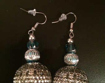 Disco Days, disco earrings, disco ball earrings, big silver ball earrings, 2timothys16, big metal ball earrings, light blue earrings