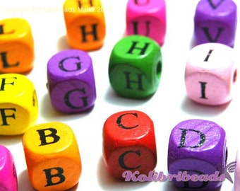 100x Mixed Wooden Alphabet Beads, A- Z Letter Cubes 10mm - Mixed Colours