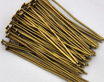 400pcs Ancient bronze Head Pin Jewelry Findings 50mm 20 gauge ----Q0057
