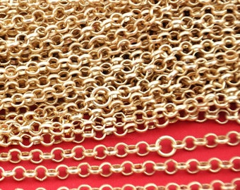 16ft 5 meters of 4.6mm Round Gold plated Cable Link Chain,DIY Accessory Jewelry Making--H0069