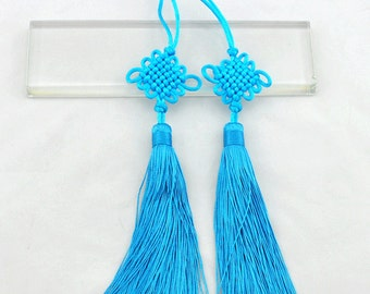 2pcs Chinese knot tassels Sky blue color set,Luck Charm,Tassel Supplies,Jewelry Supplies ------S233