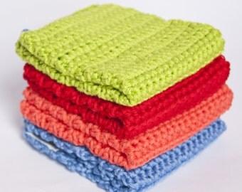 Crochet cotton dishcloths, set of 4 handmade monogrammed wash cloths in cotton