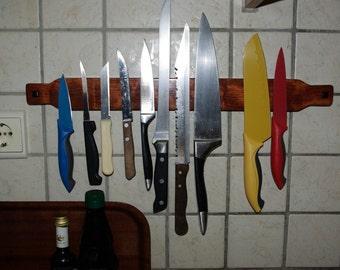 Wooden magnetic knife holder, Cutlery strip, Utensil rack, Kitchen accessory, Neodymium rare earth magnets - Bubinga, teak, zebrano, bocote