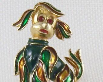 Vintage Enamel Floppy Ear Dog Brooch Pin with Rhinestone Eyes