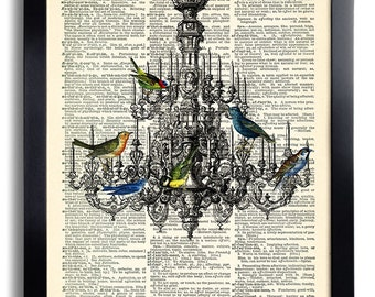 Chandelier Bird birds vintage art print on dictionary page Wall Decal, Poster,  Bedroom Decal Gift for Girlfriend, Dictionary Artwork 403
