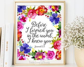 Bible verse wall art decor Scripture art nursery verse Nursery decor Before I formed you in the womb, I knew you print Jeremiah 1:5 ID169