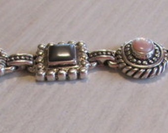 Sterling Silver Pink Mussel Shell Mother of Pearl and Hematite Link Bracelet